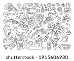 pizza cartoon black line set.... | Shutterstock .eps vector #1915606930
