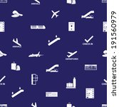 airport icons blue and white... | Shutterstock .eps vector #191560979