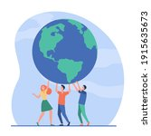 tiny people holding globe... | Shutterstock .eps vector #1915635673