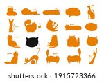 funny cats  collection of cats...   Shutterstock .eps vector #1915723366