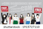 civil disobedience movement in... | Shutterstock . vector #1915727110