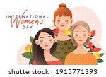 three cute girls on a white... | Shutterstock .eps vector #1915771393