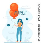 happy 8 march womens day card.... | Shutterstock .eps vector #1915785409