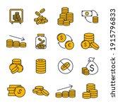 set of coins icon. money coin... | Shutterstock .eps vector #1915796833