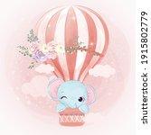 adorable little elephant flying ...   Shutterstock .eps vector #1915802779