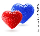 Red and blue strawberry hearts as symbol of woman and man. Feeling and relationships - stock vector