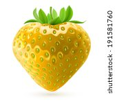 Realistic illustration of yellow strawberry on white background - stock vector