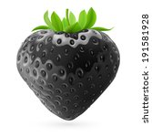 Realistic illustration of black strawberry on white background - stock vector