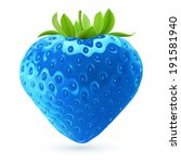 Realistic illustration of bright blue strawberry on white background - stock vector