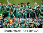 Small photo of ATHENS, GREECE APRIL 26, 2014 : Team photo holding the Cup afther their win over Paok during the Greek Cup Final match Paok vs Panathinaikos