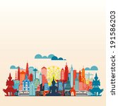 colorful panorama asia city and ... | Shutterstock .eps vector #191586203