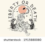 tiger in forest with liberty or ... | Shutterstock .eps vector #1915880080