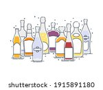 collection alcoholic drinks.... | Shutterstock .eps vector #1915891180