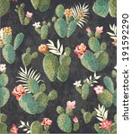 seamless vintage cactus print... | Shutterstock .eps vector #191592290
