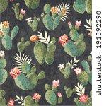 seamless vintage cactus print... | Shutterstock .eps vector #191592290