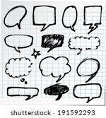 collection of hand drawn bubble ... | Shutterstock .eps vector #191592293