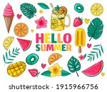 set of cute summer icons  food  ... | Shutterstock .eps vector #1915966756