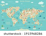 cartoon world map with animals... | Shutterstock .eps vector #1915968286