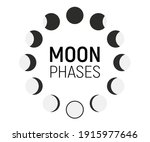 set of moon phases icons. moon... | Shutterstock .eps vector #1915977646