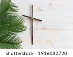 Cross And Palms On White Wood...