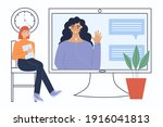 video conference. people... | Shutterstock .eps vector #1916041813
