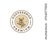 circle badge hand drawn coffee... | Shutterstock .eps vector #1916077003