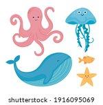 bundle of five underwater world ...   Shutterstock .eps vector #1916095069