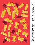 italian pasta abstract flat... | Shutterstock .eps vector #1916095636