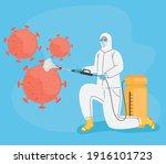 worker with biohazard suit...   Shutterstock .eps vector #1916101723