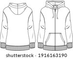 women fleece top fashion flat...   Shutterstock .eps vector #1916163190
