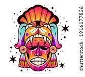 maya culture mask. ethnic...   Shutterstock .eps vector #1916177836