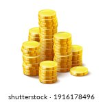 Gold Coins Cash Money In Piles  ...