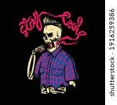 stay cool skull skeleton smoke... | Shutterstock .eps vector #1916259386