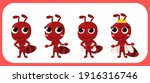 Cartoon Cute Ant Set. Red Ant....