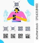 capture qr code on mobile phone.... | Shutterstock .eps vector #1916318483