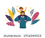 happy father's day. man with... | Shutterstock .eps vector #1916344313