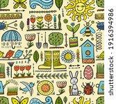spring and gardening background.... | Shutterstock .eps vector #1916394986