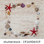 Frame With Colorful Shells And...