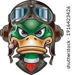 duck with leather flying helmet ...   Shutterstock .eps vector #1916423426
