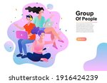 group of three happy talking...   Shutterstock .eps vector #1916424239