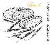 half a loaf of bread with two... | Shutterstock .eps vector #1916426549