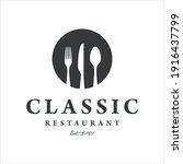 restaurant logo design template.... | Shutterstock .eps vector #1916437799