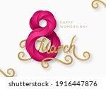 march 8 purple symbol 3d art... | Shutterstock .eps vector #1916447876