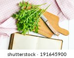 top view of arugula leaves  - stock photo