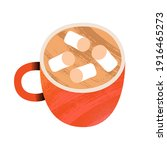 marshmallow coffee or cocoa cup.... | Shutterstock .eps vector #1916465273