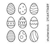 Easter Eggs Set. Vector Lineart ...