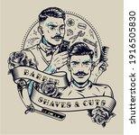 barbershop vintage monochrome...   Shutterstock .eps vector #1916505830