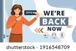 we are open again after... | Shutterstock .eps vector #1916548709
