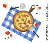 fresh sliced pizza with tomato  ... | Shutterstock .eps vector #1916572013