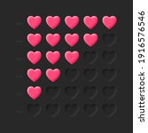 3d hearts rating icons vector...